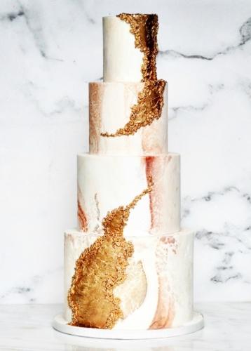 Cracked Marbled Fondant Wedding Cake