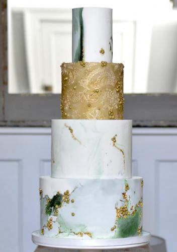 Gold and Emerald Green Fondant Wedding Cake