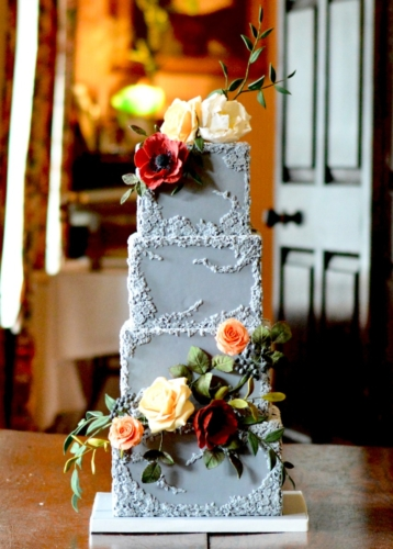 Grey Bas Relief Fondant Wedding Cake