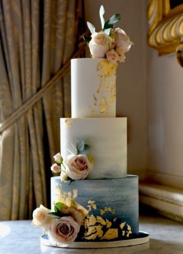 Navy Ombre Wedding Cake