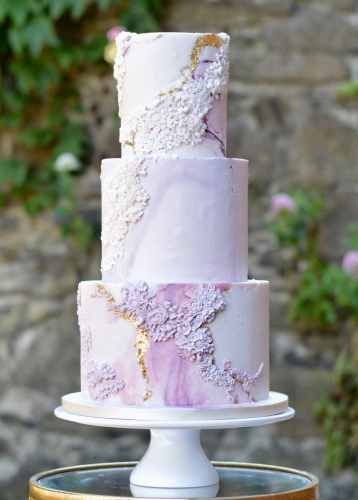Pink Bas Relief Fondant Wedding Cake