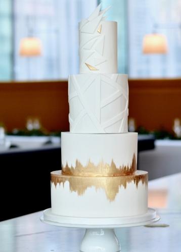 Geometric and Gold Fondant Wedding Cake