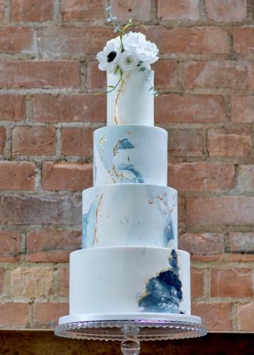 Dusky Blue and Cracked Fondant Wedding Cake